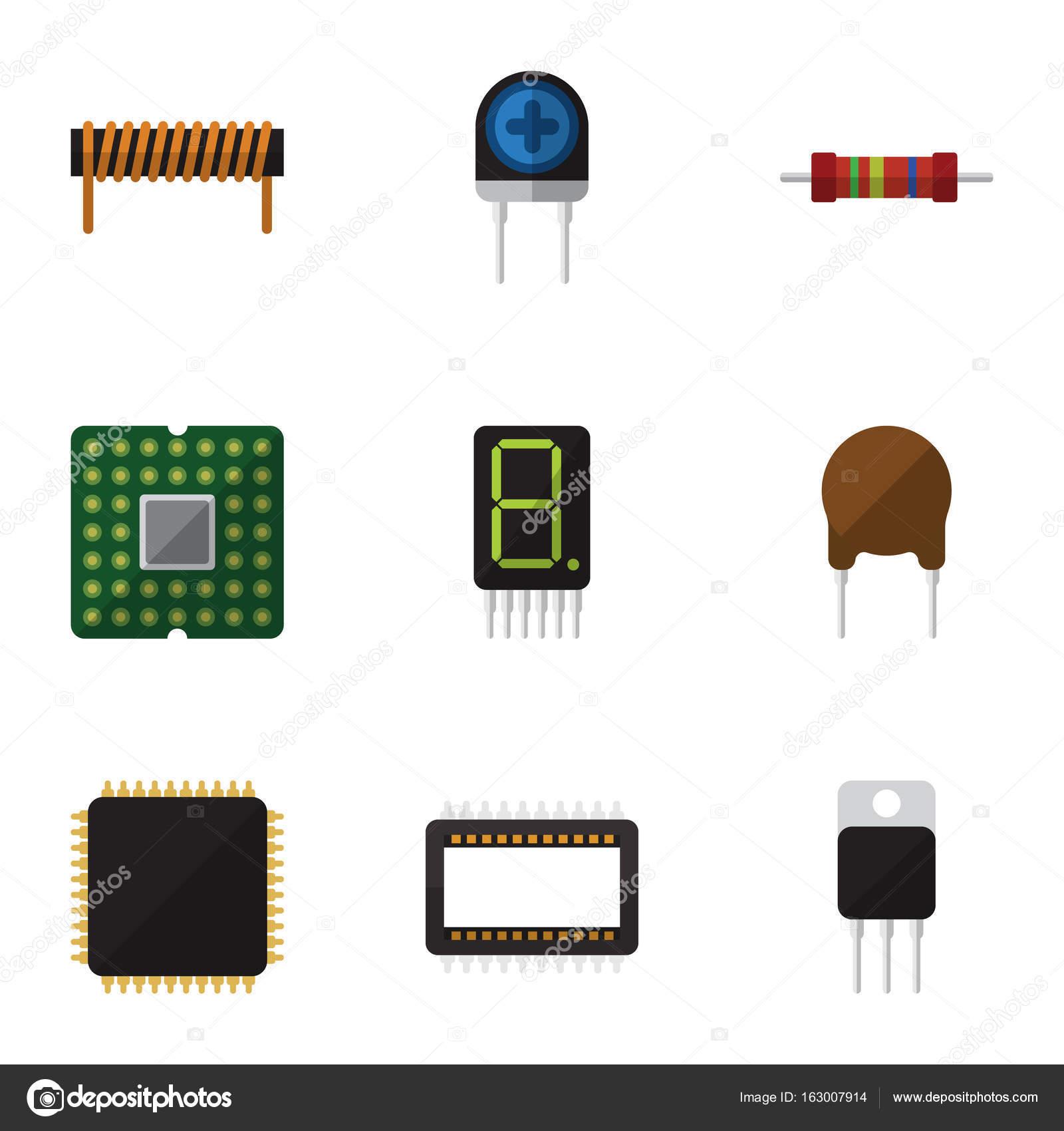 Flache Symbol Elektronik Satz von Mainframe, Widerstand, Display und ...