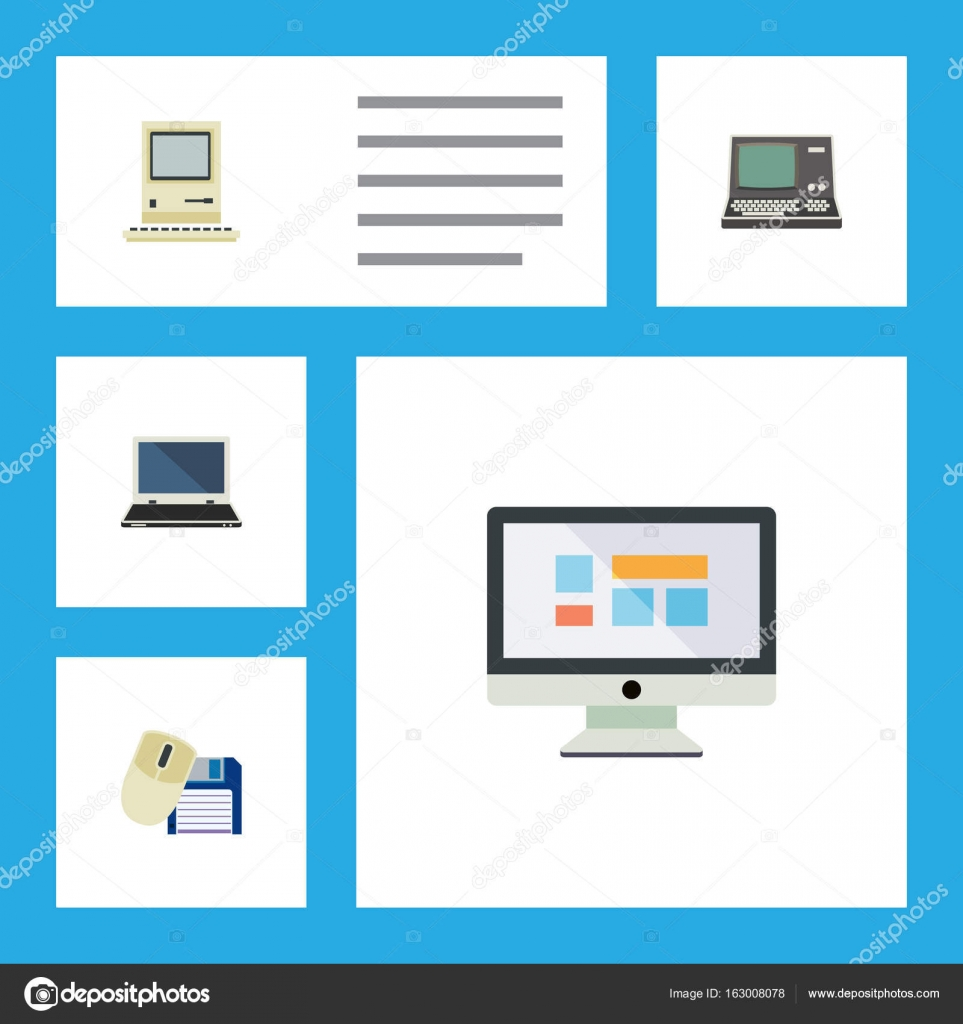 Flat Icon Computer Set Of Technology Computing Mouse And Diagram Part In This Other Vector Objects