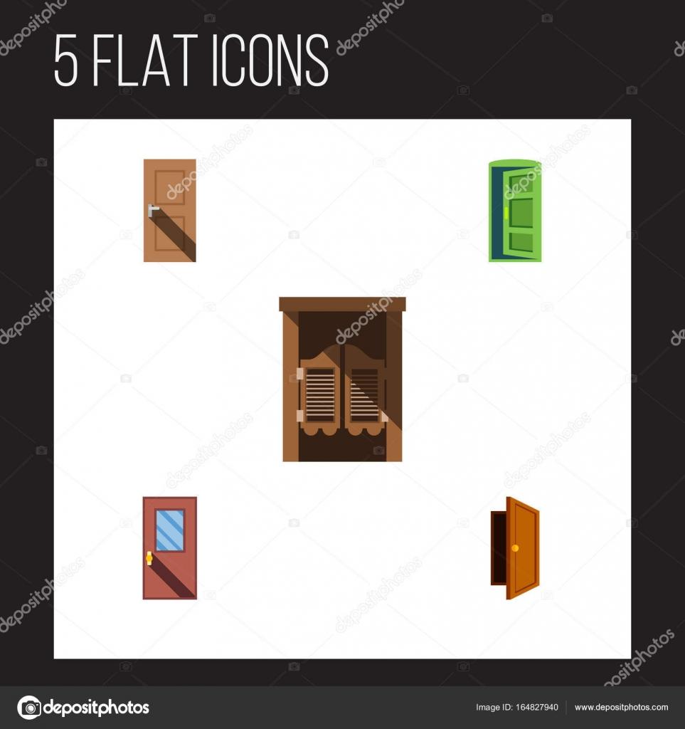 Flache Symbol Tür-Set aus Rahmen, Eintrag, Tür und andere Vektor ...