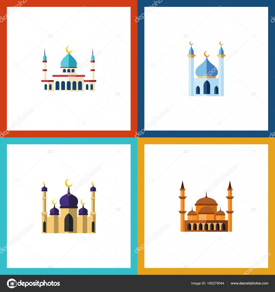 flat icon mosque set of structure mosque mohammedanism and other