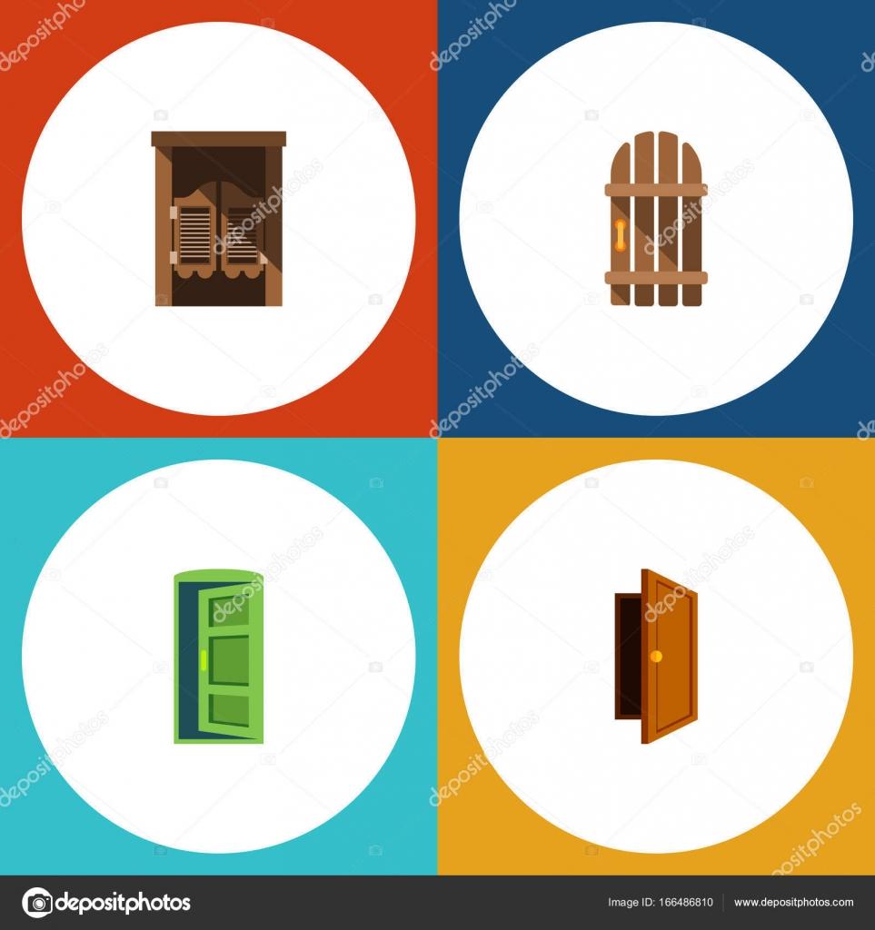 Flache Symbol Ansatz Set Eintrag, Saloon, Rahmen und andere Vektor ...
