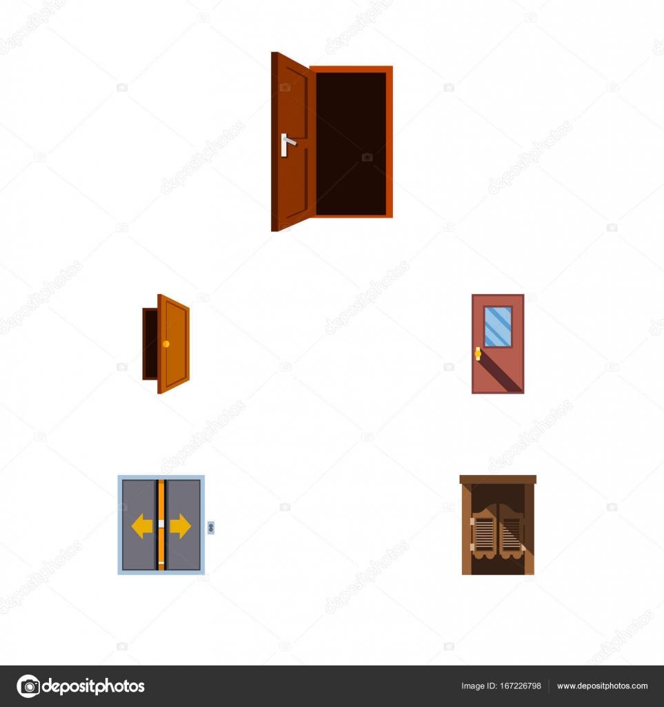 Flache Symbol Ansatz Ansatz, Tür, Lobby und andere Vektorobjekte ...