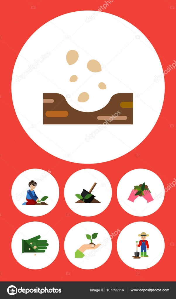 Flache Symbol Anlage setzen des Bodens, Blumengeschäft, Samen und ...