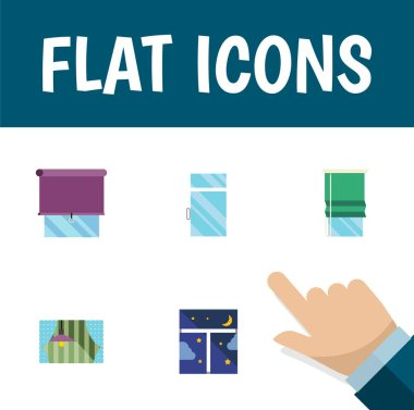 Flat Icon Glass Set Of Frame, Curtain, Balcony And Other Vector Objects. Also Includes Night, Balcony, Window Elements.