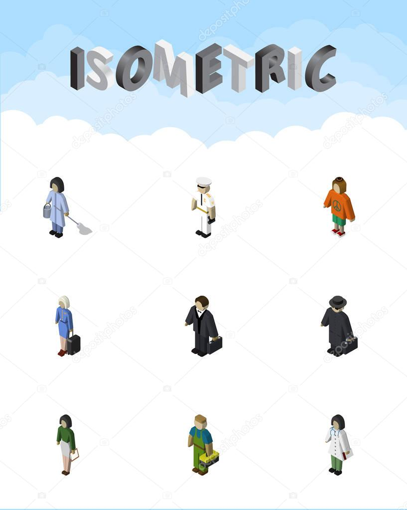 Isometric Person Set Of Seaman, Detective, Housemaid And Other Vector Objects. Also Includes Plumber, Teacher, Lady Elements.