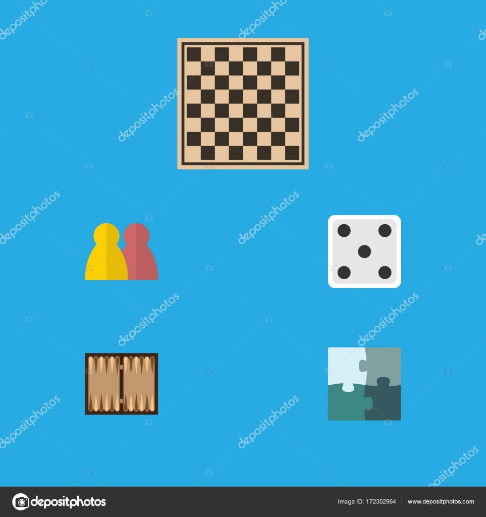 Flat Icon Entertainment Set Of Jigsaw, Dice, Chess Table And Other