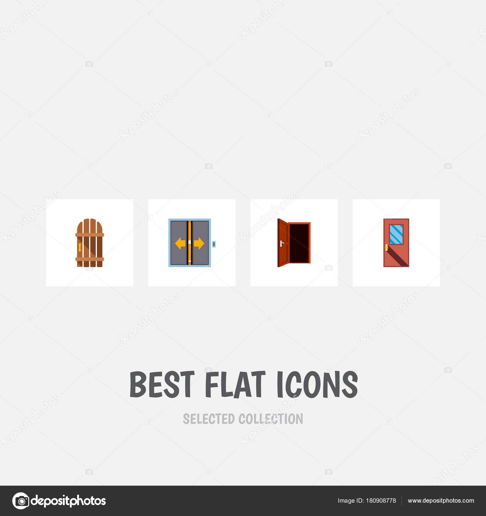 Enfoque plano icono conjunto de elevador, marco, entrada y otros ...