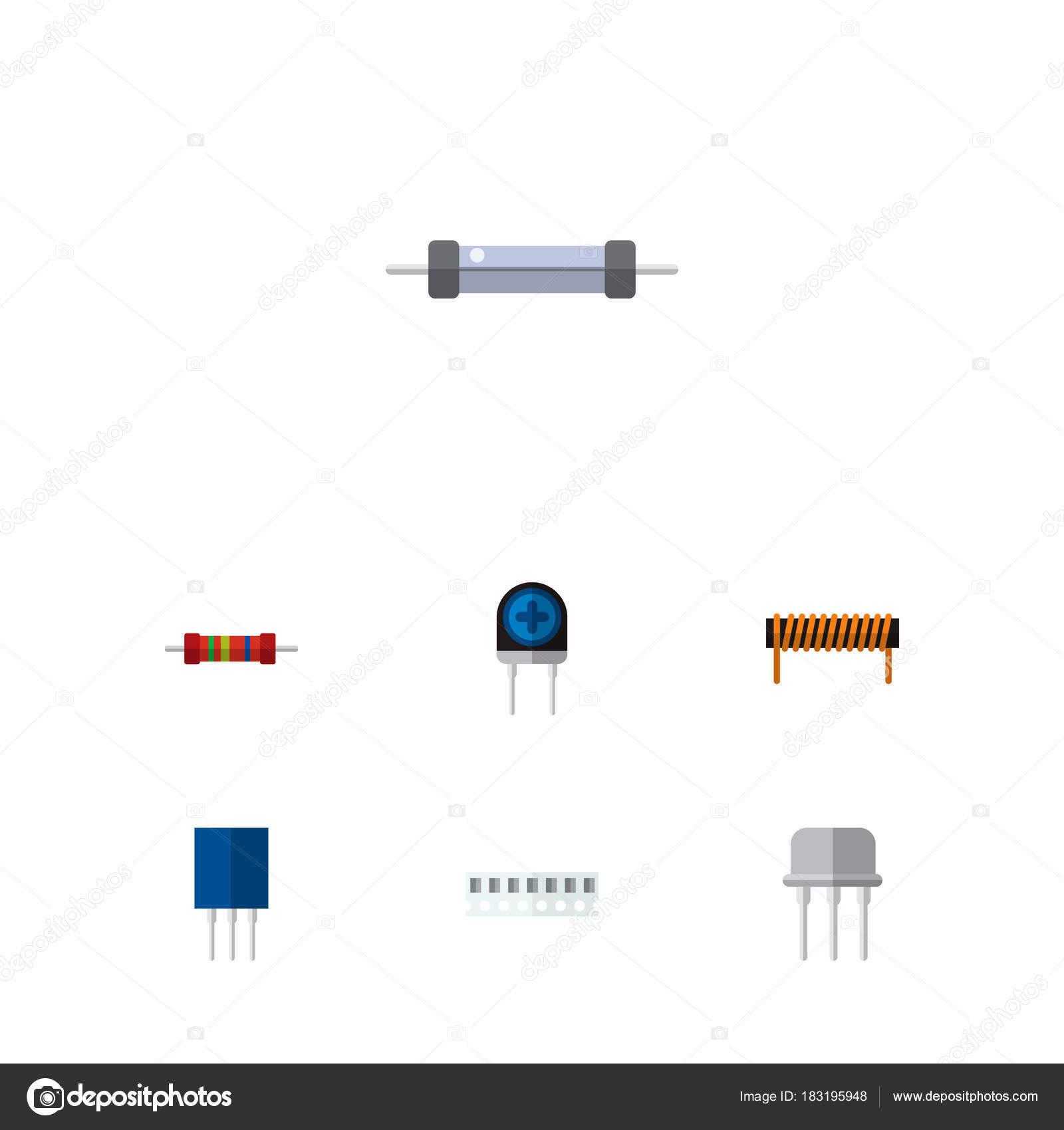 Flache Elektronik Symbol Satz von Widerstand, Ram, Opposition und ...
