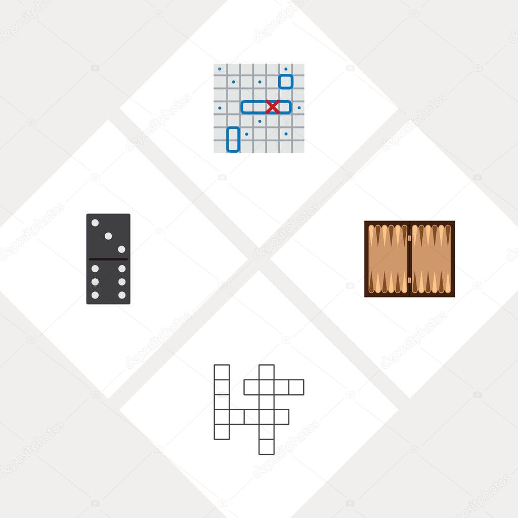 Icon flat entertainment set of backgammon, battle ship, domino and other vector objects. Also includes game, battle, guess elements.