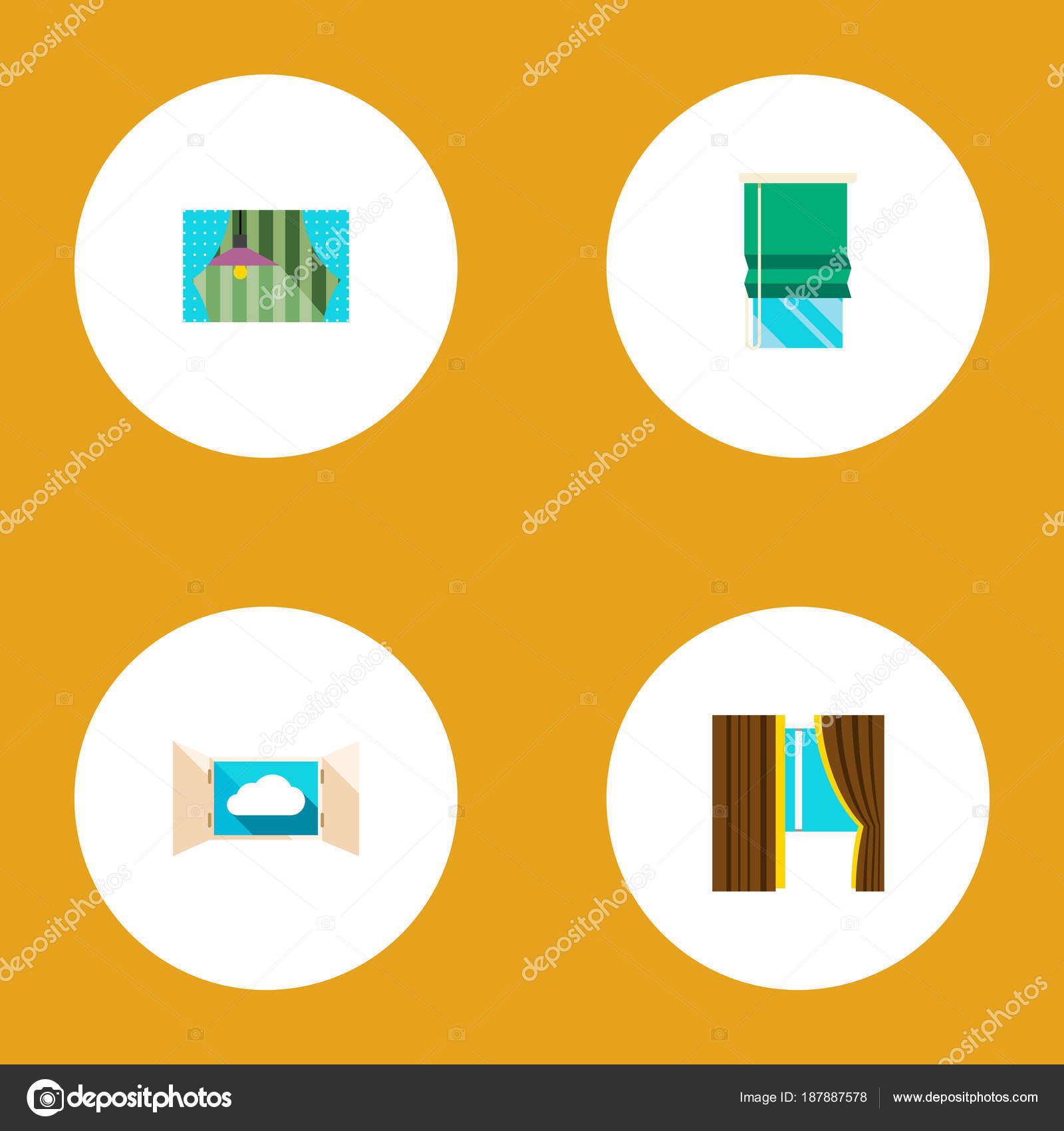 Vidrio plano icono conjunto de marco abierto, cristales y otros ...