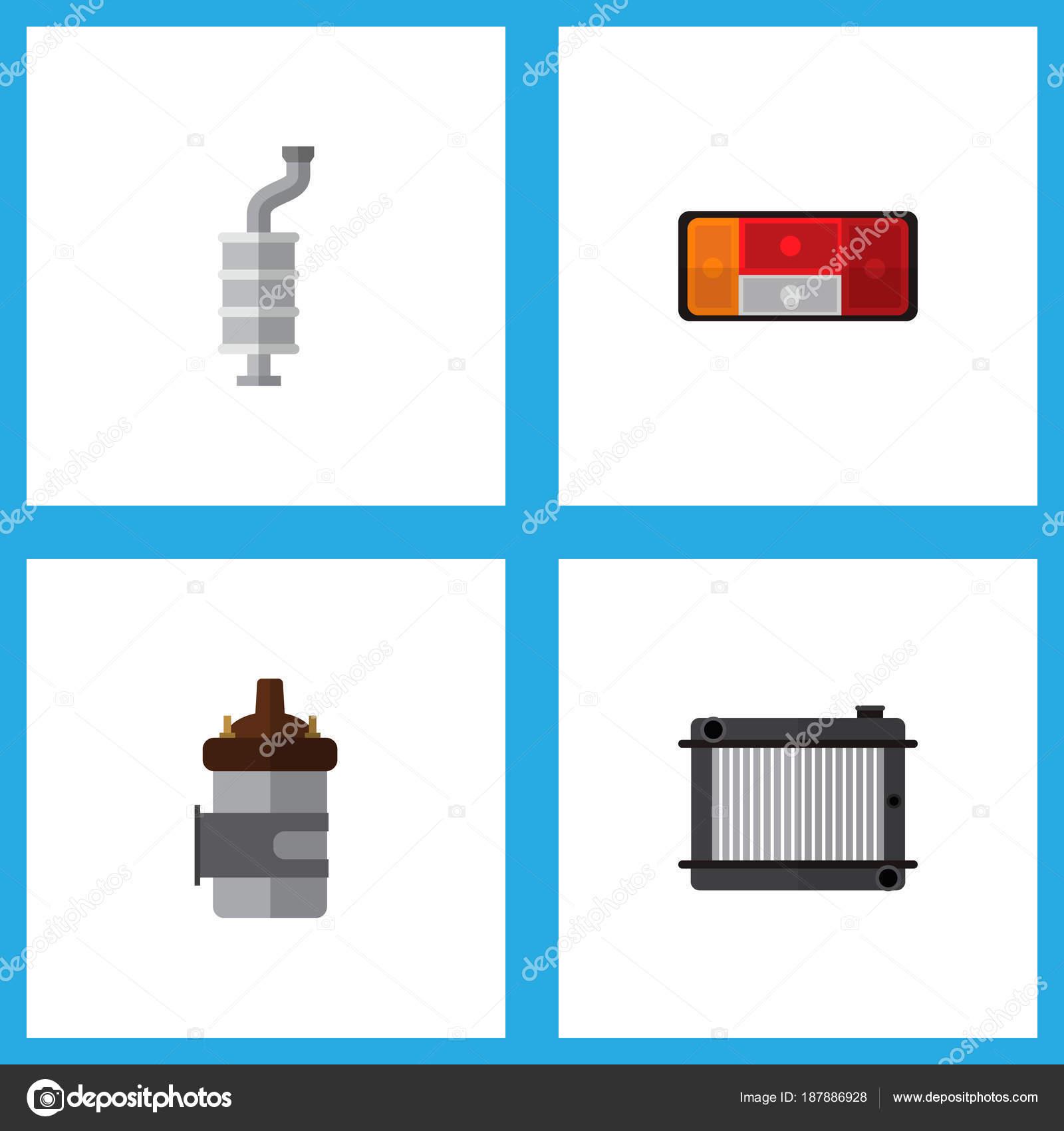 Flache Komponente Symbolsatz aus Verbrennungsmotor, Heizkörper ...