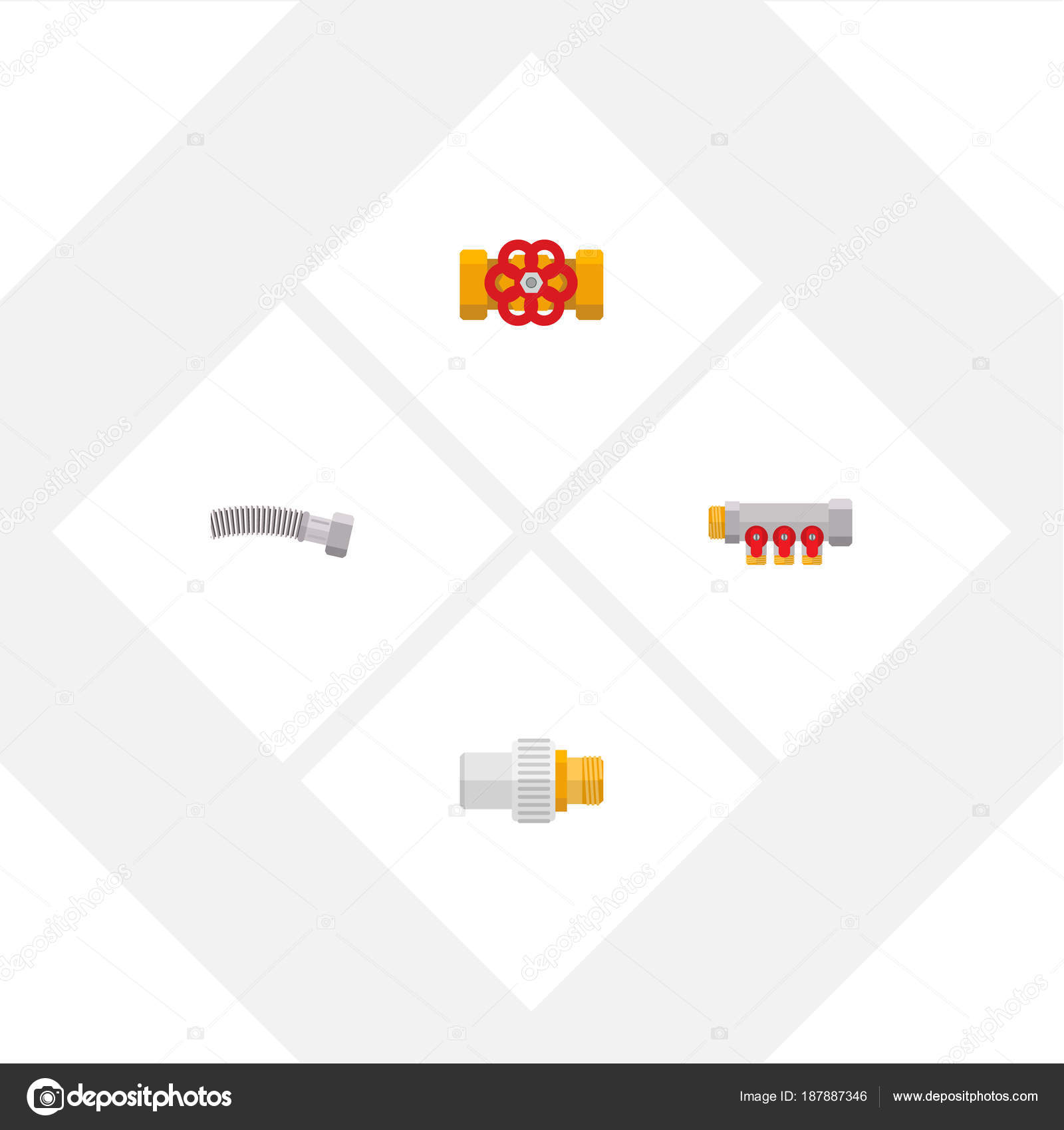Flache Pipeline Symbolsatz Flansch, Controller, gewickelten Draht ...