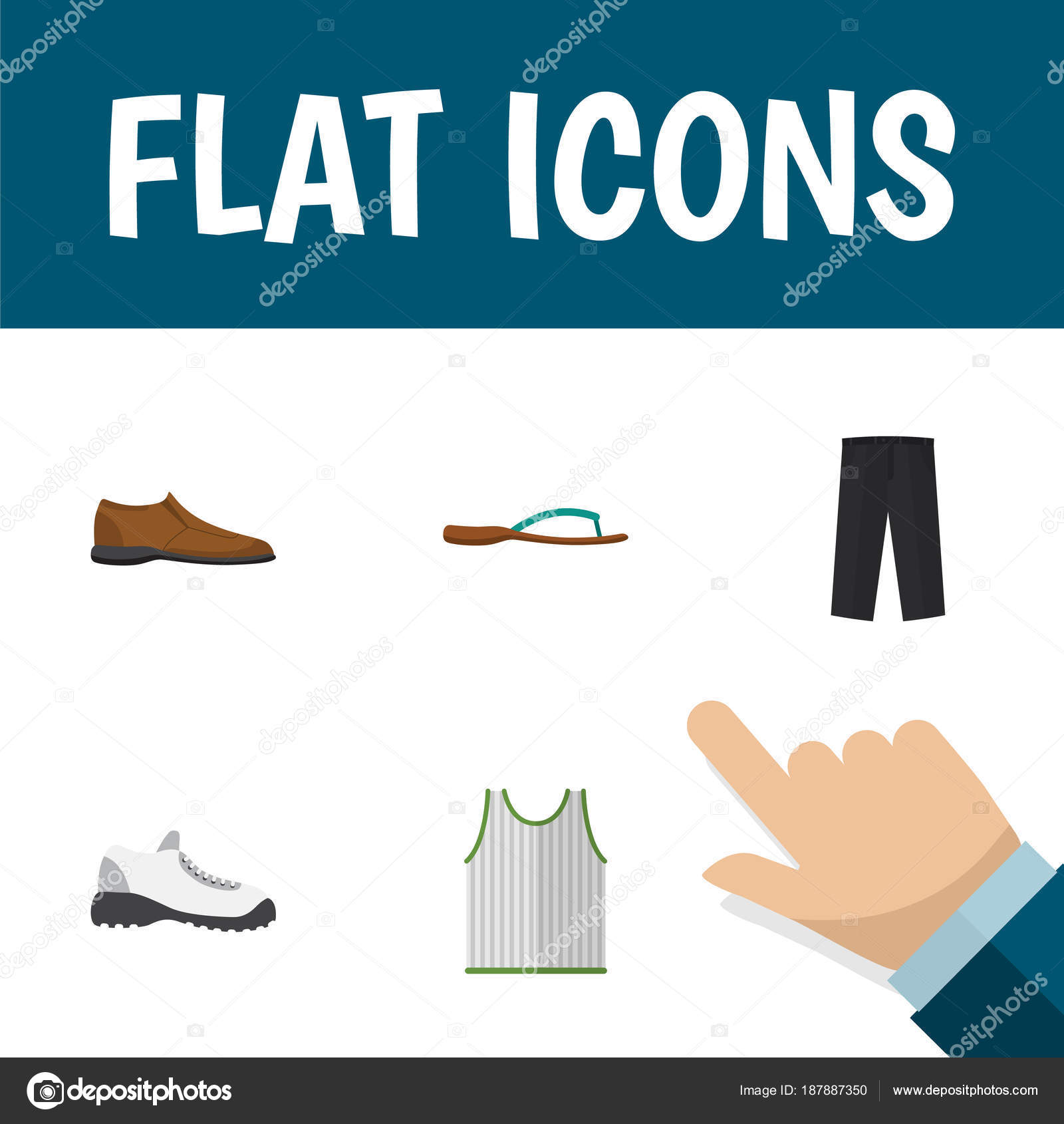 Icon Flat Clothes Set Of Man Shoe Gumshoes Sleeveless Tank And
