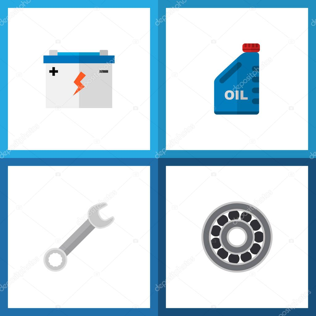 Icon flat auto set of wrench, oil jerrycan, battery and other vector objects. Also includes disk, petrol, spanner elements.