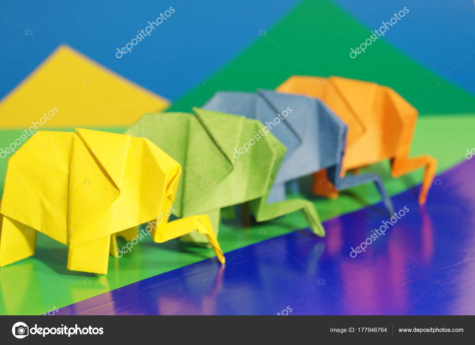 origami elephants colored paper elephants multi colored background