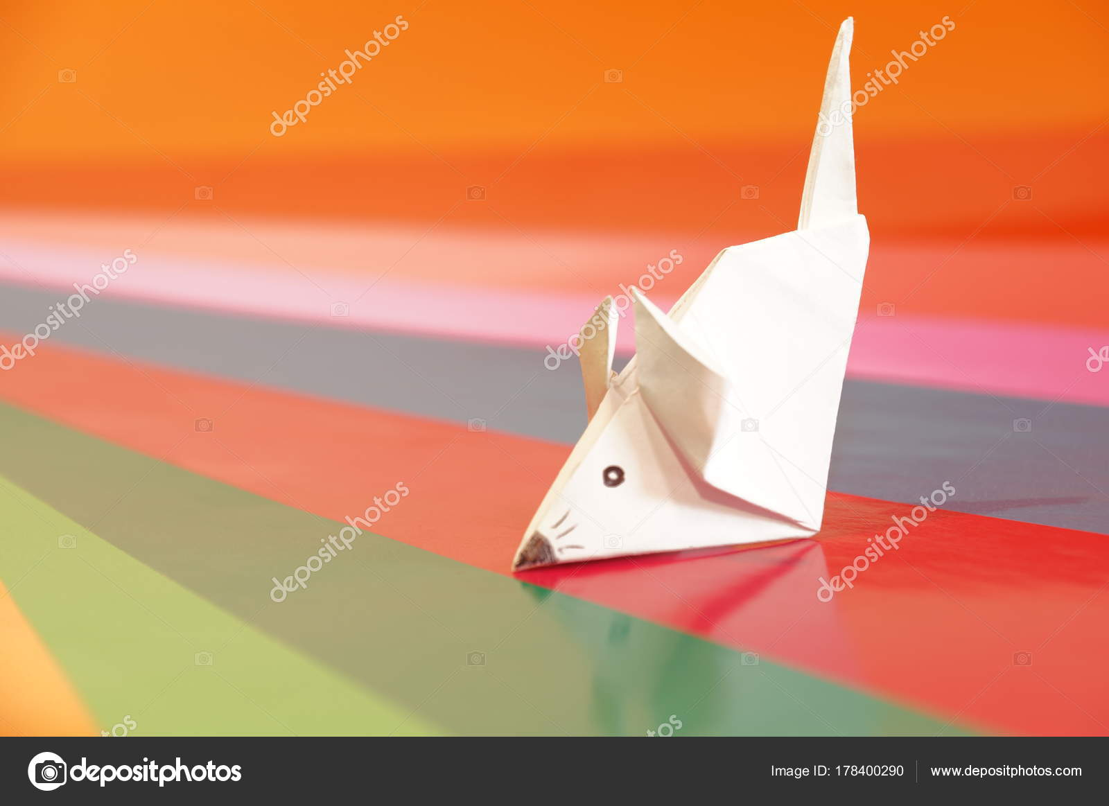 Origami Mouse Isolated Colored Background Paper Figure Mouse
