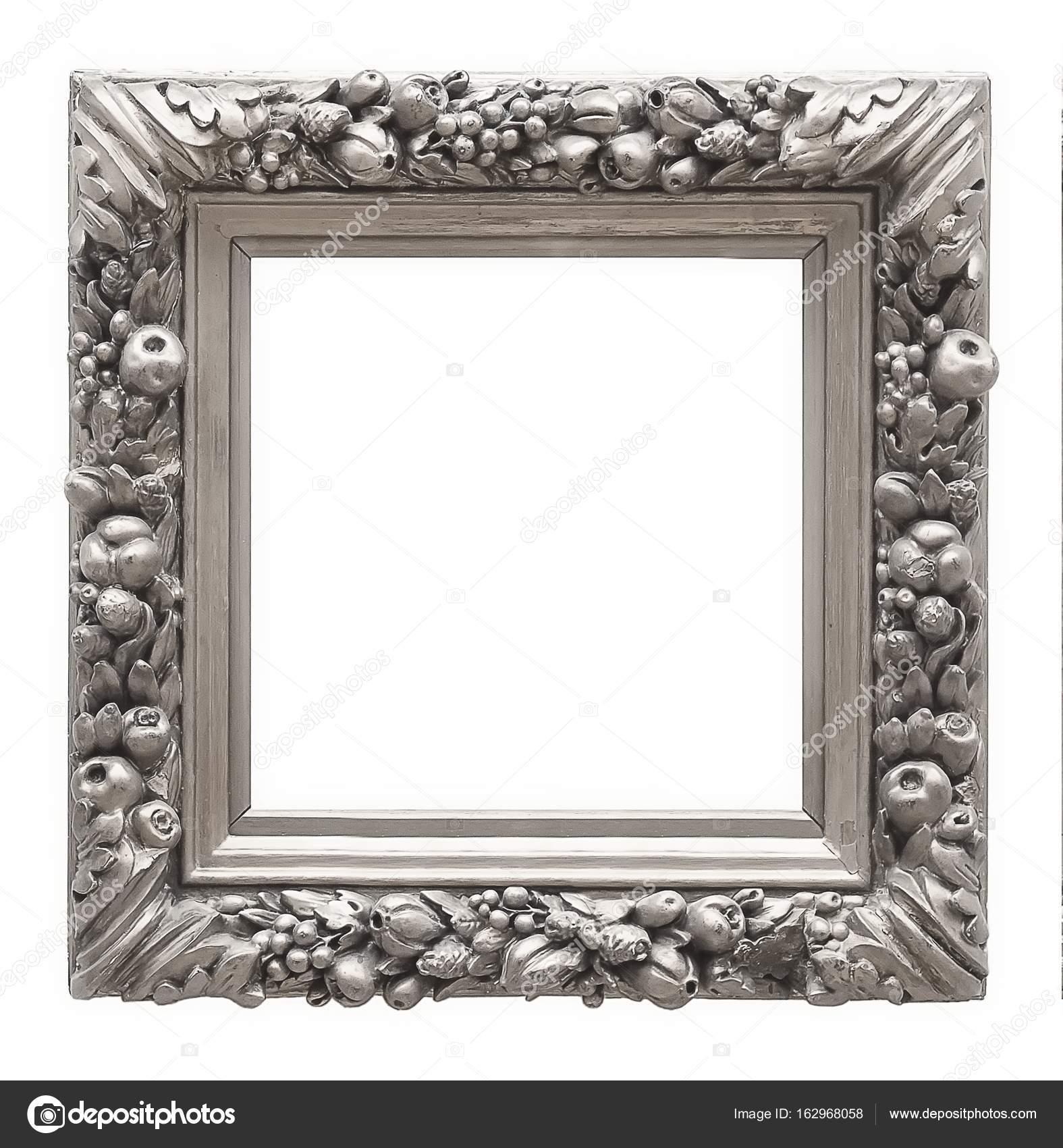 marco de plata aislado sobre fondo blanco — Foto de stock © Prokrida ...