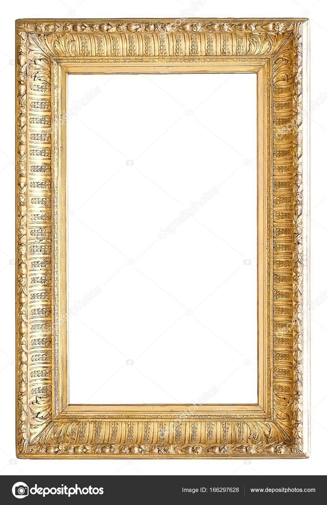 Gold frame for masterpieces on a white background — Stock Photo ...