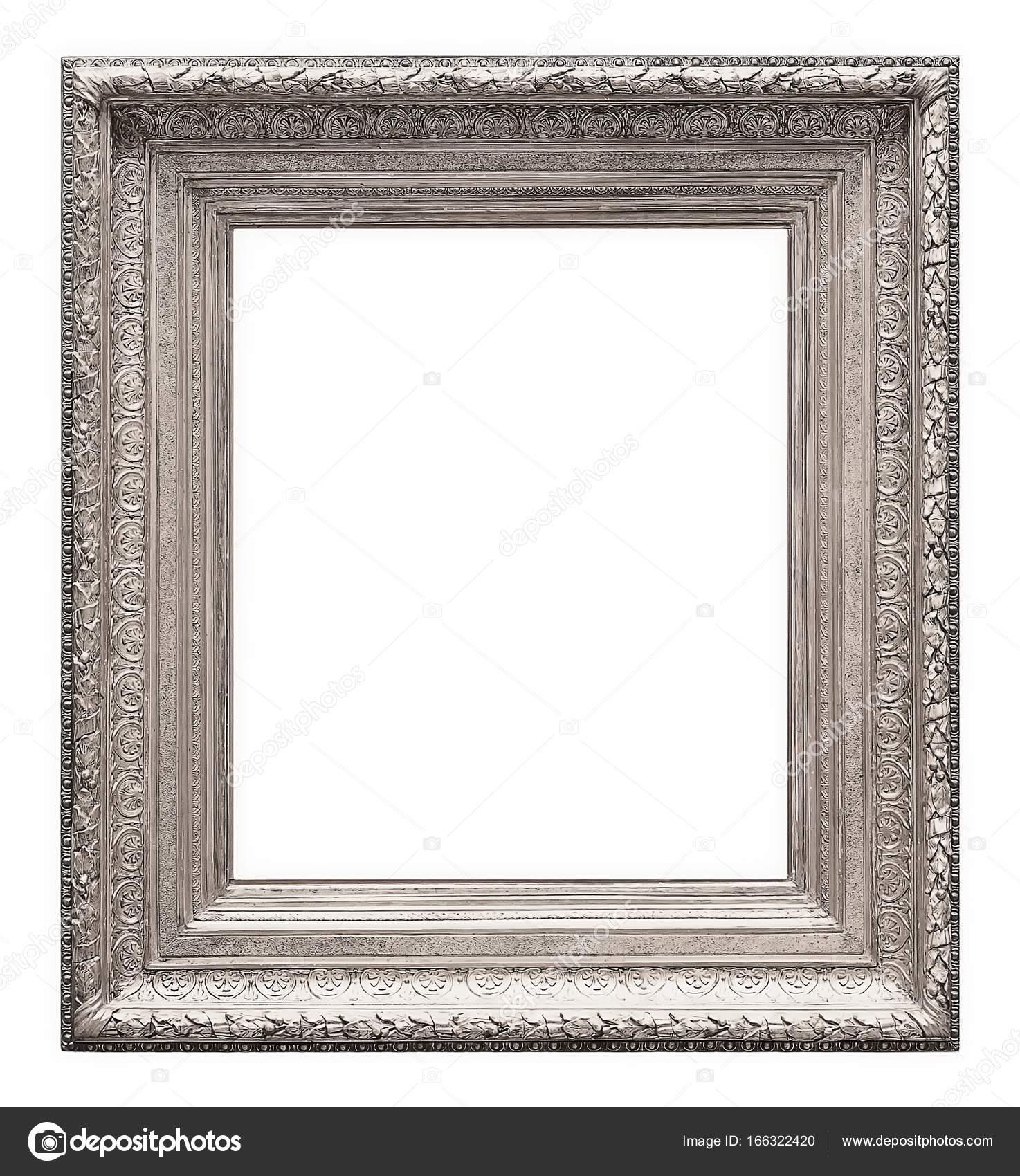 Marco de plata para obras maestras sobre un fondo blanco — Fotos de ...