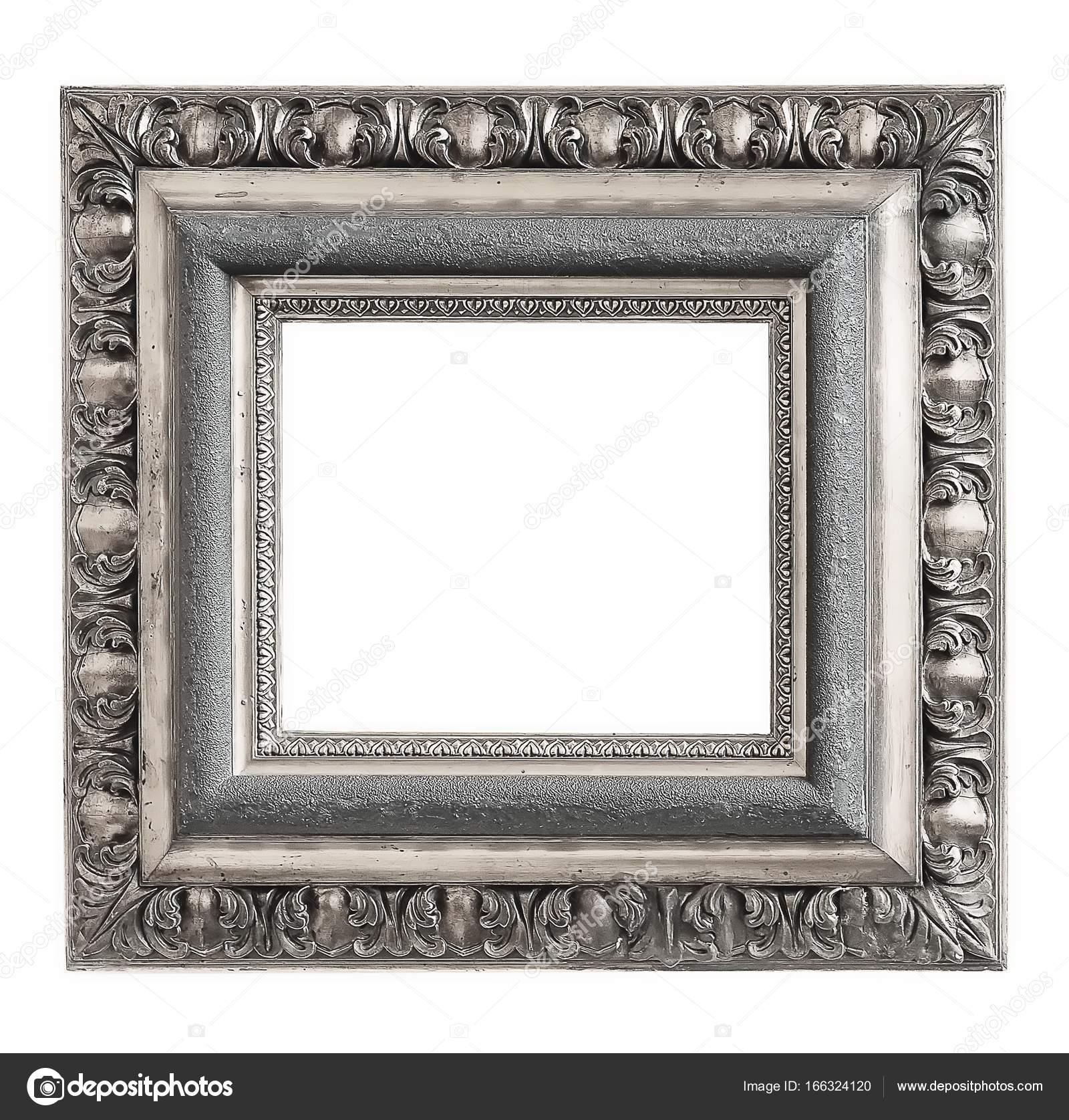 Marco de plata para obras maestras sobre un fondo blanco — Foto de ...