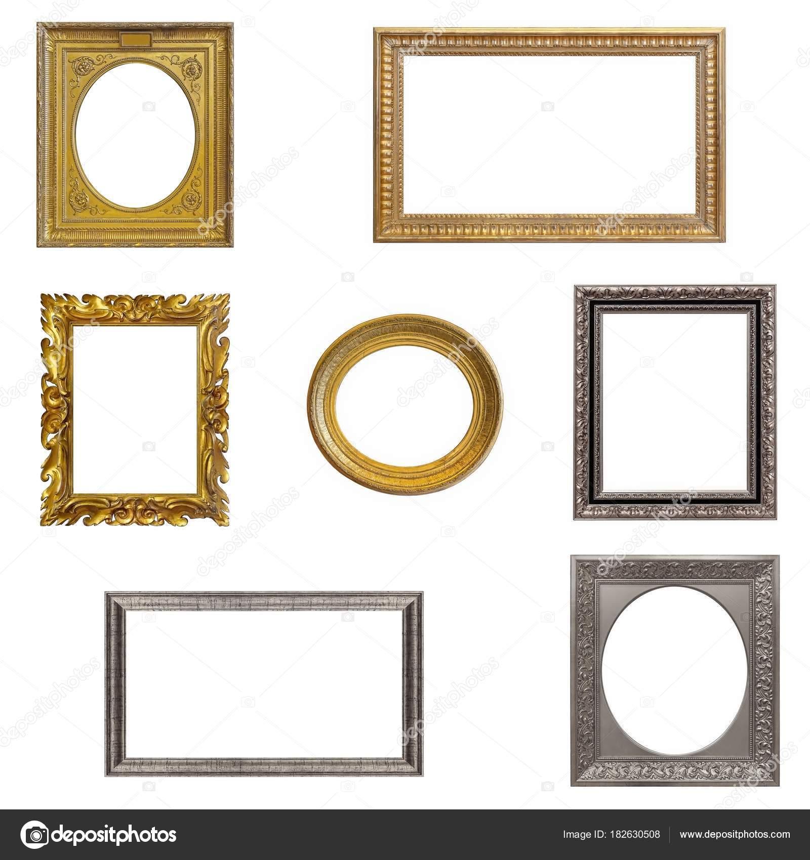 Conjunto Marcos Oro Dorados Aislado Blanco — Foto de stock ...