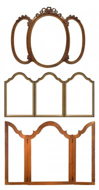 Set of wooden frames for paintings, mirrors or photos isolated on white background