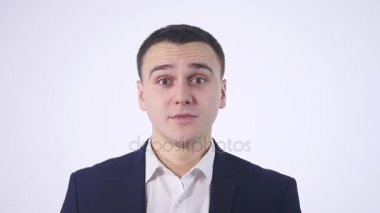 Happy surprised businessman white background
