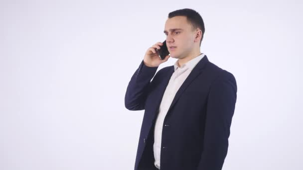 business man screaming on cell mobile phone