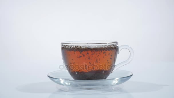 Brew tea in a beautiful glass cup