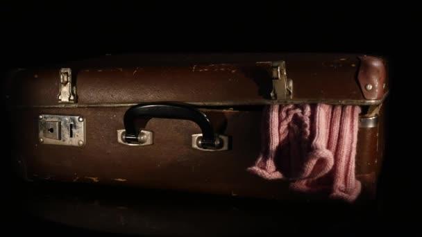 Régi, retro bőrönd forgatás elszigetelt fehér background