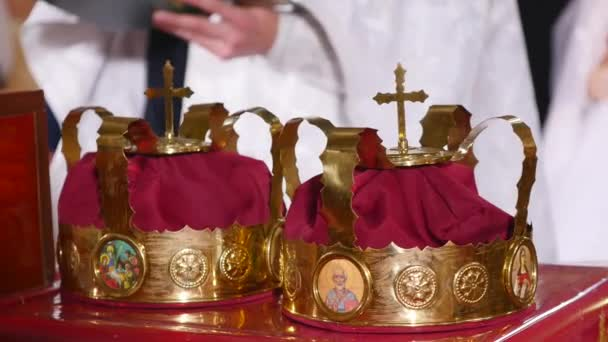 Two crowns the weddings intended for ceremony in orthodox church