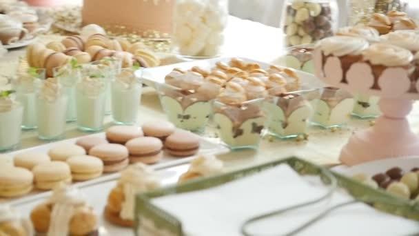 Delicious Wedding Reception Candy Bar Dessert Table Stock Video