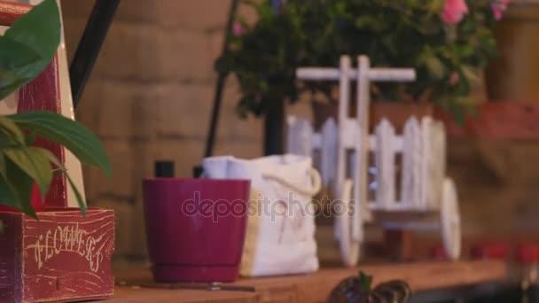 Malé firmy. Moderní květina obchod interiér. Květinový design studio, dekorace a uspořádání. Květiny zásilková služba a prodej domů rostlin v květináčích, dřevěná vitrína, filtrovány obrázek