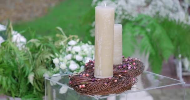 romantic candle at a wedding ceremony