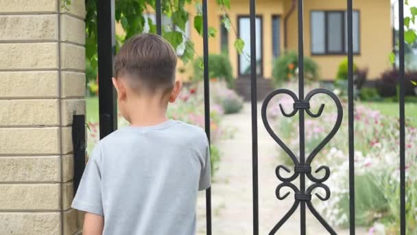 Little boy coming home, opening, closing gate, yard, summer