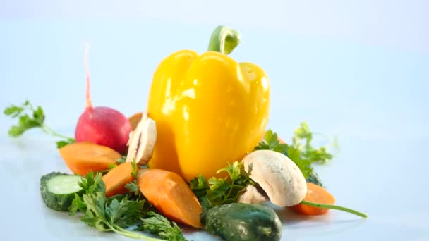 big group of vegetables on white background