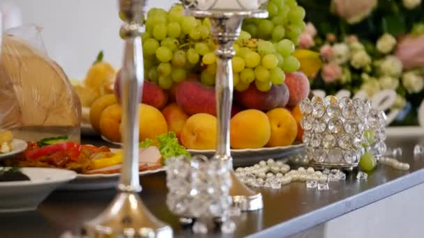 Different fresh fruits on wedding buffet table.Wedding table ...