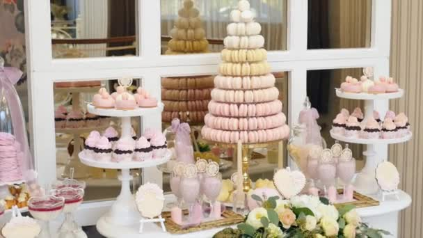 Delicious Wedding Reception Candy Bar Dessert Table Stock Video