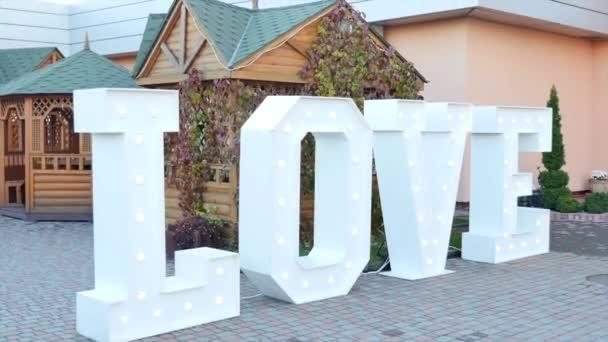 big white plastic letters wedding decoration stock video