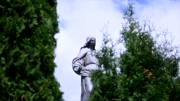 Statue in a cemetery on the sky and trees