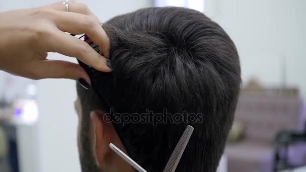 Detailní záběr Barber účes Clipper Zpomalený pohyb