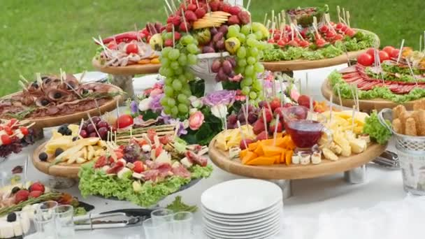 Christmas Birthday Party.Beautifully Decorated Catering Banquet Table With Different Food Snacks And Appetizers On Corporate Christmas Birthday Party Event Or Wedding Celebration