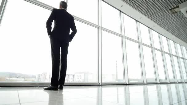 Mann kommt und steht in voller Höhe, blickt aus dem Fenster des Flughafenterminals