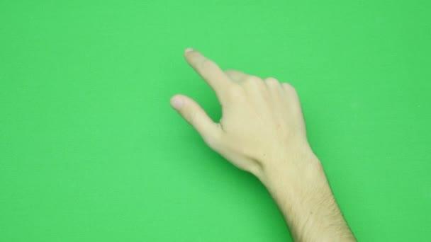 Kézmozdulatok, mutatja a felhasználási touchscreen számítógép, tabletta, nyom halmaza. 4k-val zöld képernyő. a modern technológia