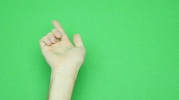 Sada gesta rukou, ukazující použití dotykové obrazovky počítače, tabletu, trackpad. 4k s zeleným plátnem. moderní technologie