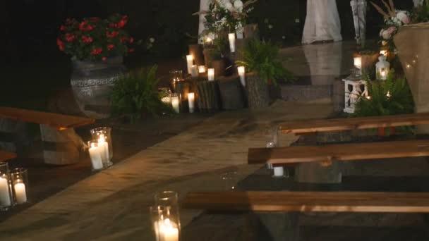 Zahrada, zdobené pro svatební hostinu v noci