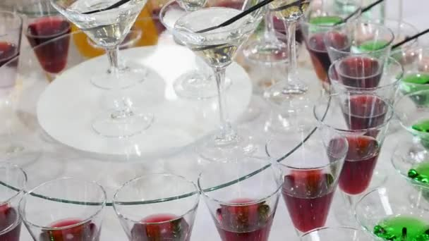 Glasses with alcohol and different drinks, glasses of wine and champagne are on the buffet table,red wine in glasses, champagne by the glass, buffet table with alcohol in a restaurant