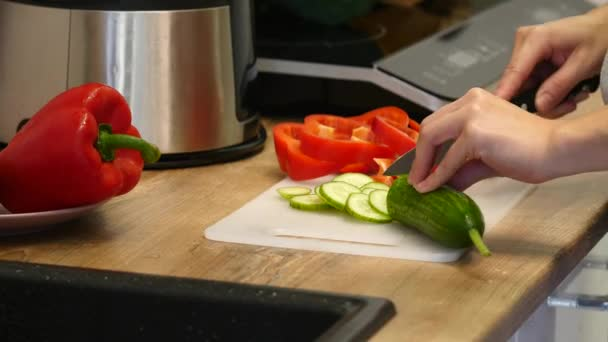 Woman slicing cucumber. Female hands cut green cucumber rings. Big knife. In the kitchen. Wooden board. house-proud woman. Fresh cucumber. Fresh vegetables. sharp knife