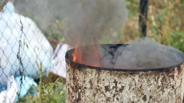 Fire in Barrels Oil Tank