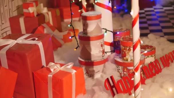Christmas presents close up. christmas decoration
